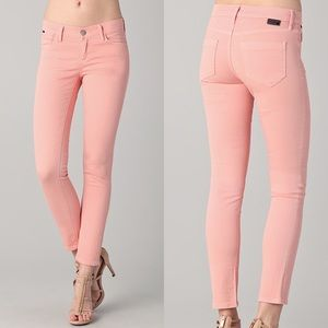 Goldsign Frontier Cropped Slim Leg Jeans in Salmon